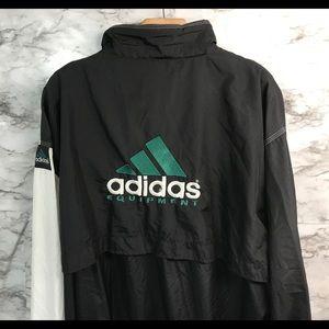 Adidas Vintage Black White Windbreaker Jacket XL